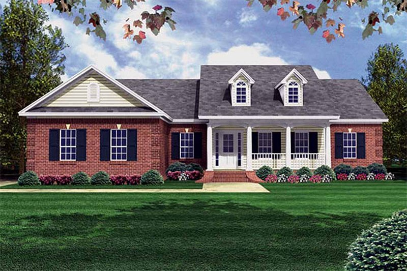 Southern Style House Plan - 3 Beds 2 Baths 1500 Sq/Ft Plan #21-146 Exterior - Front Elevation