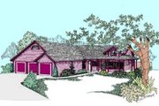 Ranch Style House Plan - 3 Beds 3 Baths 2110 Sq/Ft Plan #60-493 Exterior - Front Elevation