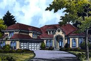European Style House Plan - 5 Beds 4 Baths 5725 Sq/Ft Plan #417-443 Exterior - Front Elevation