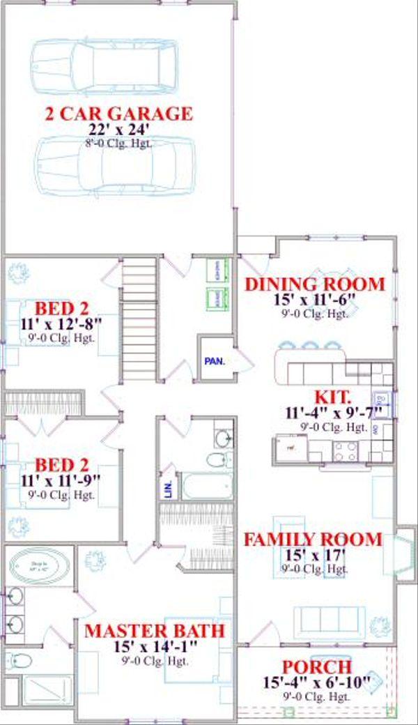 Farmhouse Floor Plan - Main Floor Plan Plan #63-135