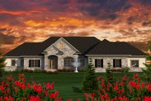 Ranch Exterior - Front Elevation Plan #70-1177