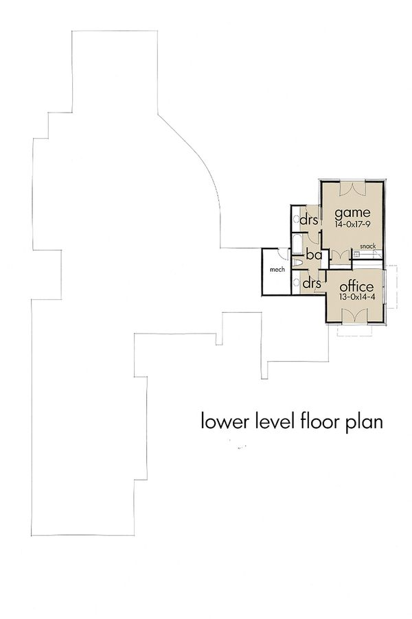 Contemporary Floor Plan - Lower Floor Plan Plan #120-188