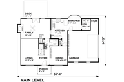 Traditional Style House Plan - 4 Beds 2.5 Baths 2442 Sq/Ft Plan #30-349 Floor Plan - Main Floor Plan