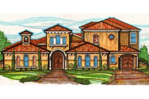 Mediterranean Exterior - Front Elevation Plan #135-169