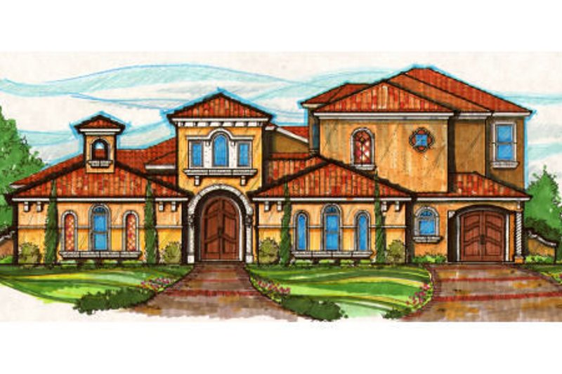 Mediterranean Style House Plan - 4 Beds 4.5 Baths 4976 Sq/Ft Plan #135-169 Exterior - Front Elevation