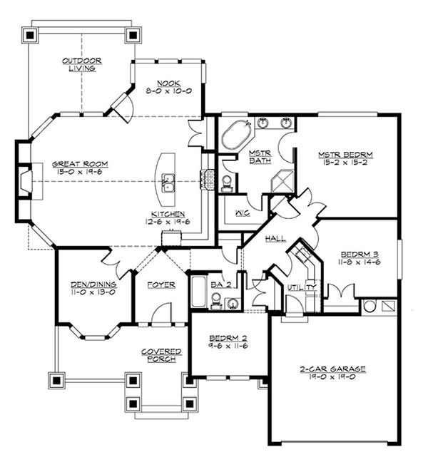 Craftsman Floor Plan - Main Floor Plan Plan #132-199