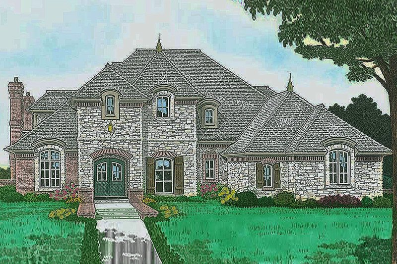 European Exterior - Front Elevation Plan #310-1297