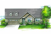Craftsman Style House Plan - 3 Beds 2 Baths 1338 Sq/Ft Plan #53-595 Exterior - Front Elevation