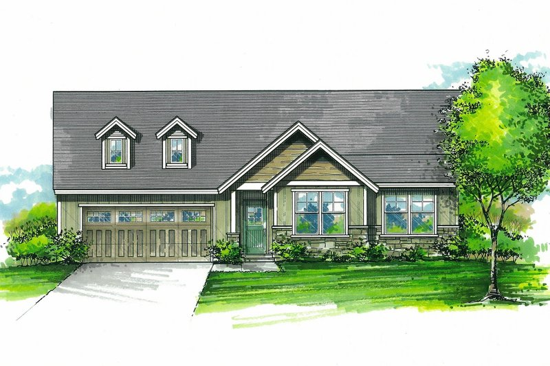 Craftsman Style House Plan - 3 Beds 2 Baths 1338 Sq/Ft Plan #53-595