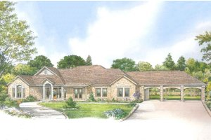 Country Exterior - Front Elevation Plan #140-162
