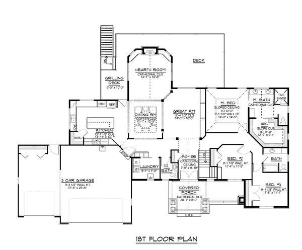 Dream House Plan - Craftsman Floor Plan - Main Floor Plan #1064-71