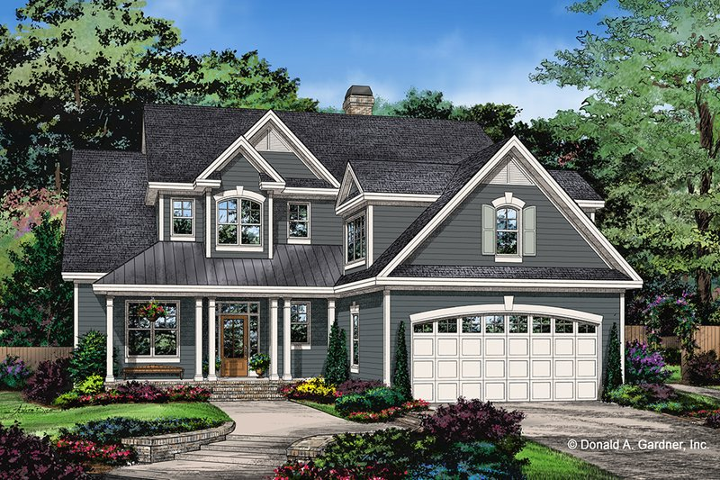 Country Style House Plan - 5 Beds 4.5 Baths 2932 Sq/Ft Plan #929-1034 Exterior - Front Elevation