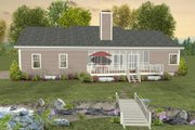 Ranch Style House Plan - 2 Beds 2.5 Baths 1500 Sq/Ft Plan #56-622 Exterior - Rear Elevation