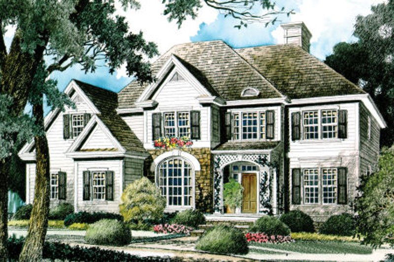 Traditional Style House Plan - 4 Beds 3.5 Baths 2935 Sq/Ft Plan #429-26 Exterior - Front Elevation