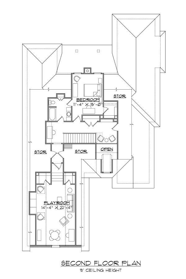 Traditional Floor Plan - Upper Floor Plan Plan #1054-77
