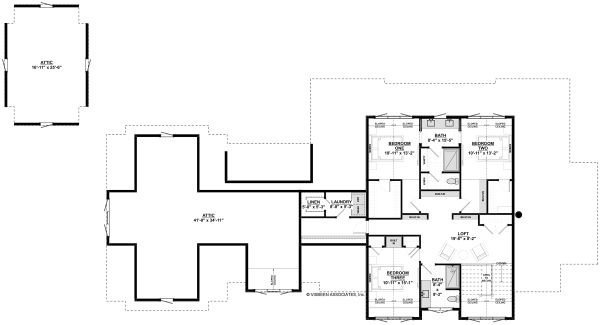 Bungalow Floor Plan - Upper Floor Plan Plan #928-340