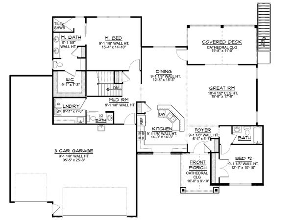 Ranch Floor Plan - Main Floor Plan #1064-87