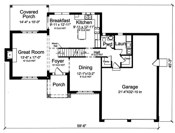 Craftsman Floor Plan - Main Floor Plan Plan #46-898