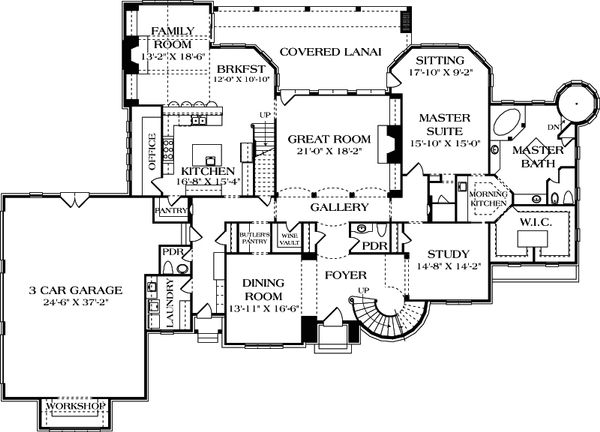 European Floor Plan - Main Floor Plan Plan #453-49