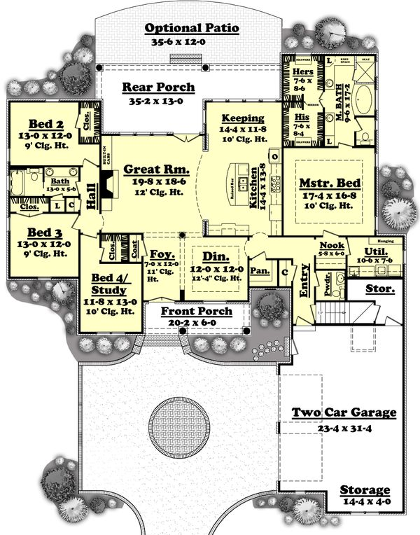 Southern Floor Plan - Main Floor Plan Plan #430-49