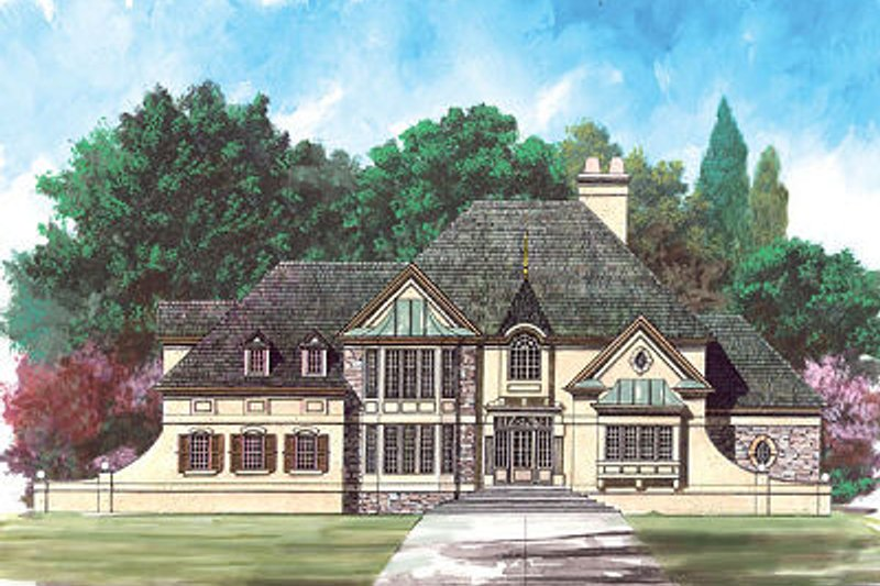 European Exterior - Front Elevation Plan #119-296
