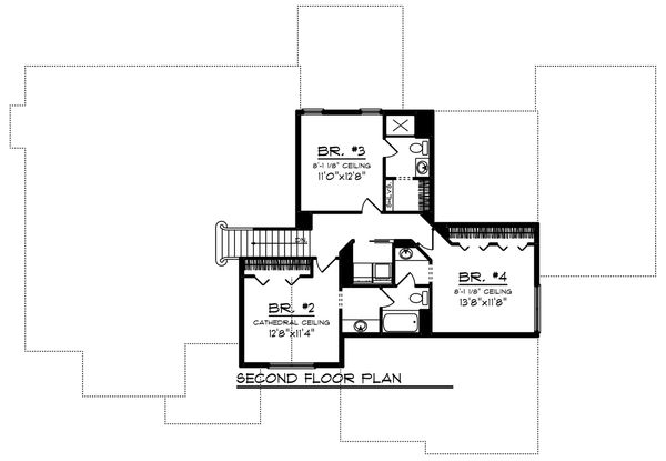Craftsman Floor Plan - Upper Floor Plan Plan #70-1252
