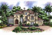 Mediterranean Style House Plan - 4 Beds 4.5 Baths 4310 Sq/Ft Plan #27-427 Exterior - Front Elevation