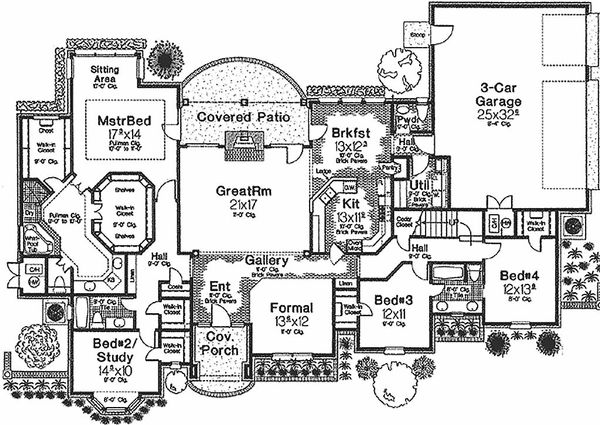 House Plan Design - European style house plan, main level floor plan