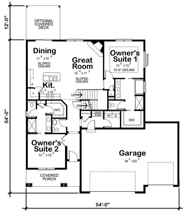 Architectural House Design - Craftsman Floor Plan - Main Floor Plan #20-2317