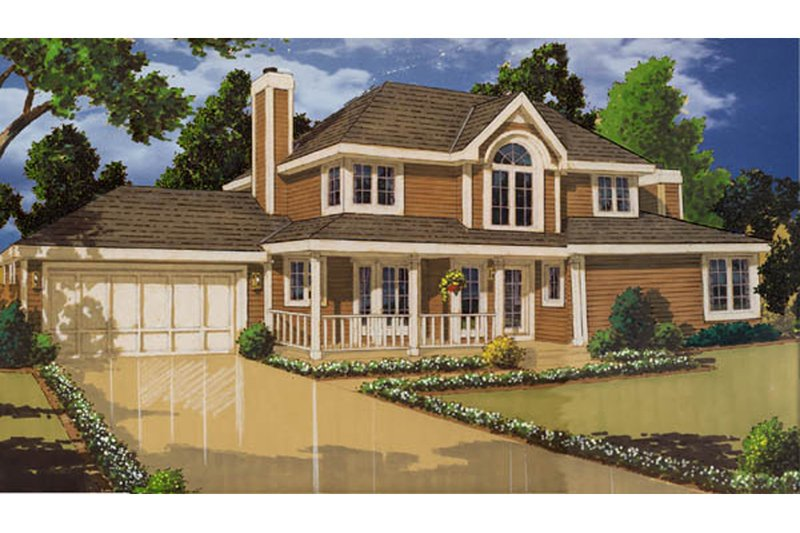 Country Style House Plan - 4 Beds 2.5 Baths 1701 Sq/Ft Plan #3-243 Exterior - Front Elevation