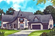 European Style House Plan - 4 Beds 3.5 Baths 4154 Sq/Ft Plan #413-133 Exterior - Front Elevation