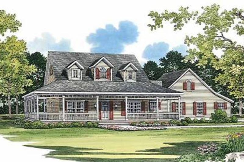 Farmhouse Exterior - Front Elevation Plan #72-132 - Houseplans.com