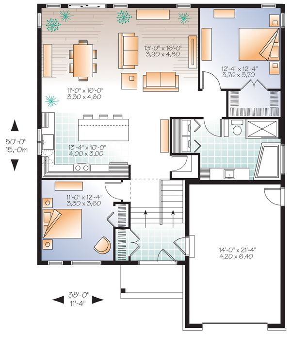 Craftsman Floor Plan - Main Floor Plan Plan #23-2305