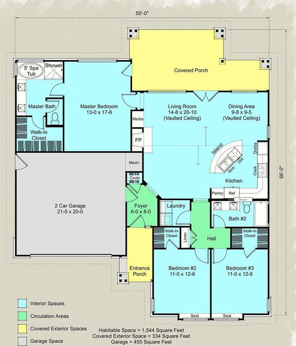 Architectural House Design - Ranch Floor Plan - Main Floor Plan #489-12