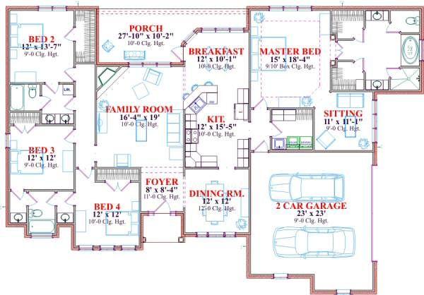 European Floor Plan - Main Floor Plan Plan #63-137