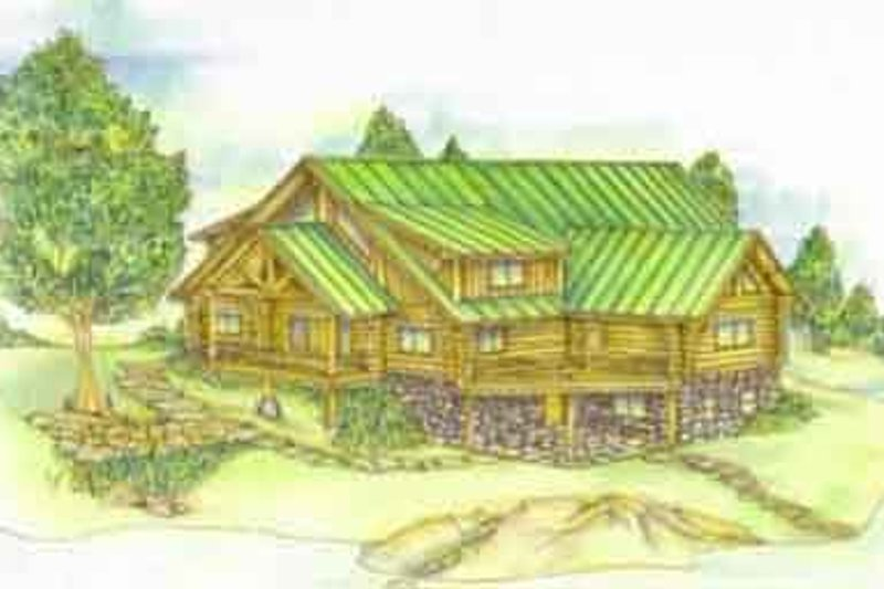Log Exterior - Front Elevation Plan #117-125 - Houseplans.com