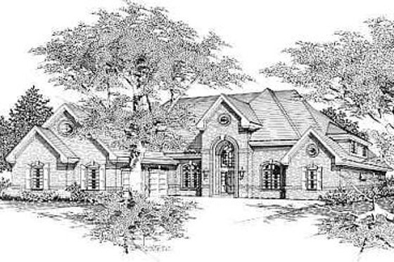 European Exterior - Front Elevation Plan #329-305