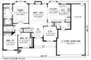 Traditional Style House Plan - 3 Beds 1.5 Baths 1928 Sq/Ft Plan #70-1083 Floor Plan - Main Floor Plan