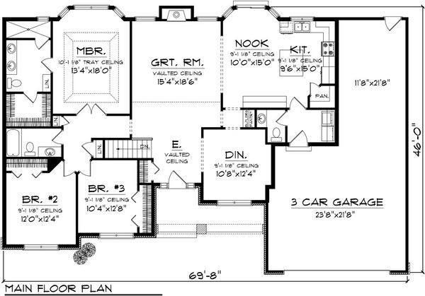 Traditional Floor Plan - Main Floor Plan Plan #70-1083