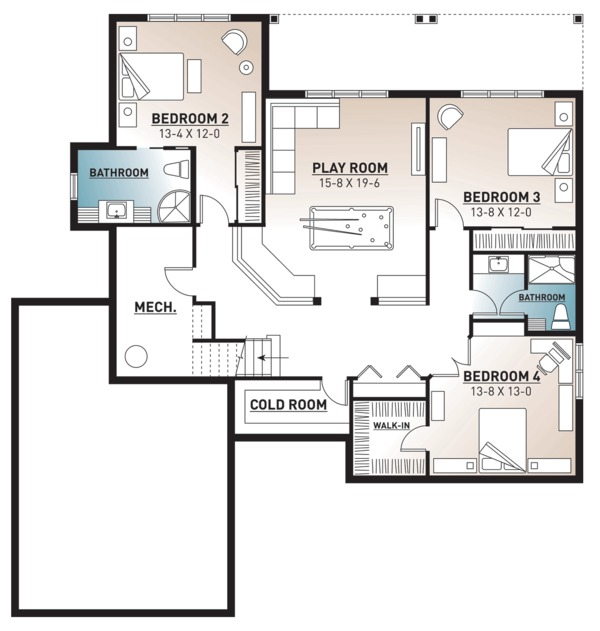 Architectural House Design - Traditional Floor Plan - Lower Floor Plan #23-2534