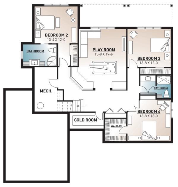 Traditional Floor Plan - Lower Floor Plan Plan #23-2534