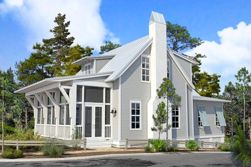 Beach Style House Plan - 3 Beds 2.5 Baths 1932 Sq/Ft Plan #443-20 Exterior - Front Elevation