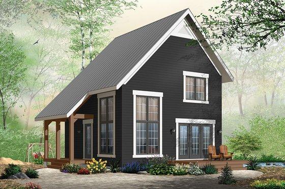 Cabin Exterior - Front Elevation Plan #23-2267