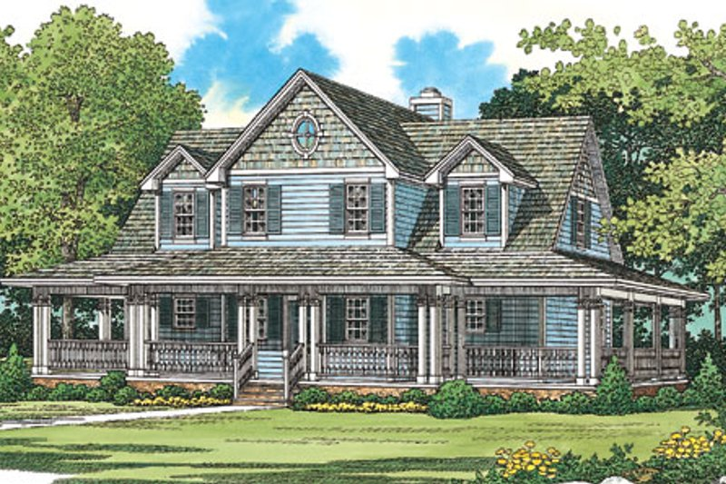 House Blueprint - Country Exterior - Front Elevation Plan #72-484