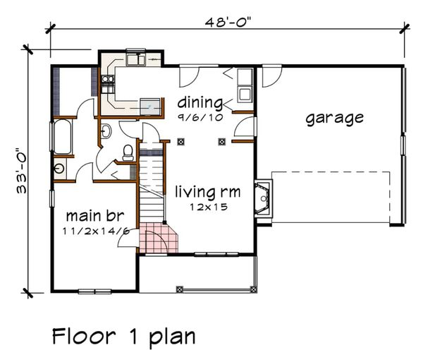Country Floor Plan - Main Floor Plan #79-157