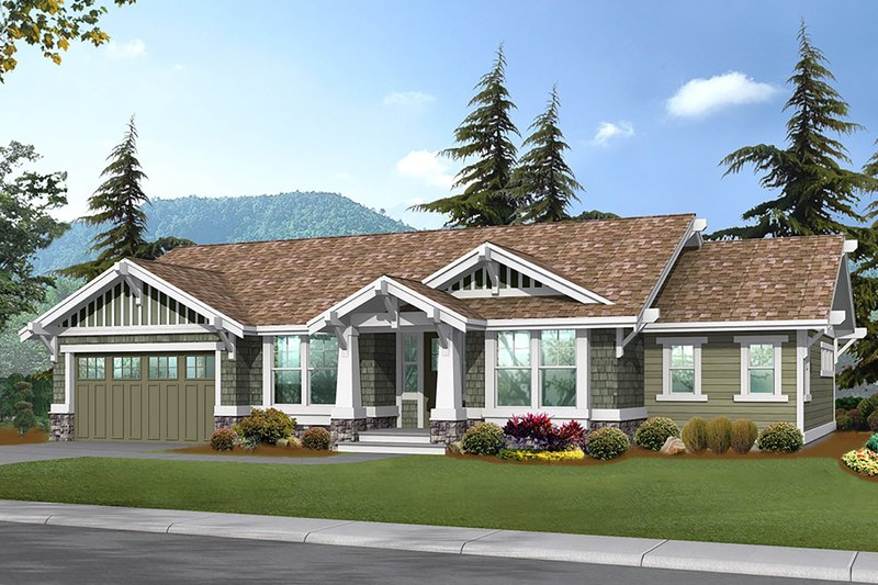 Craftsman Style House Plan - 2 Beds 2.5 Baths 3559 Sq/Ft Plan #132-570 Exterior - Front Elevation