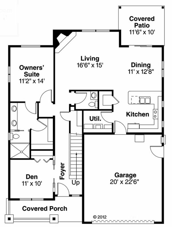 Craftsman Floor Plan - Main Floor Plan Plan #124-907