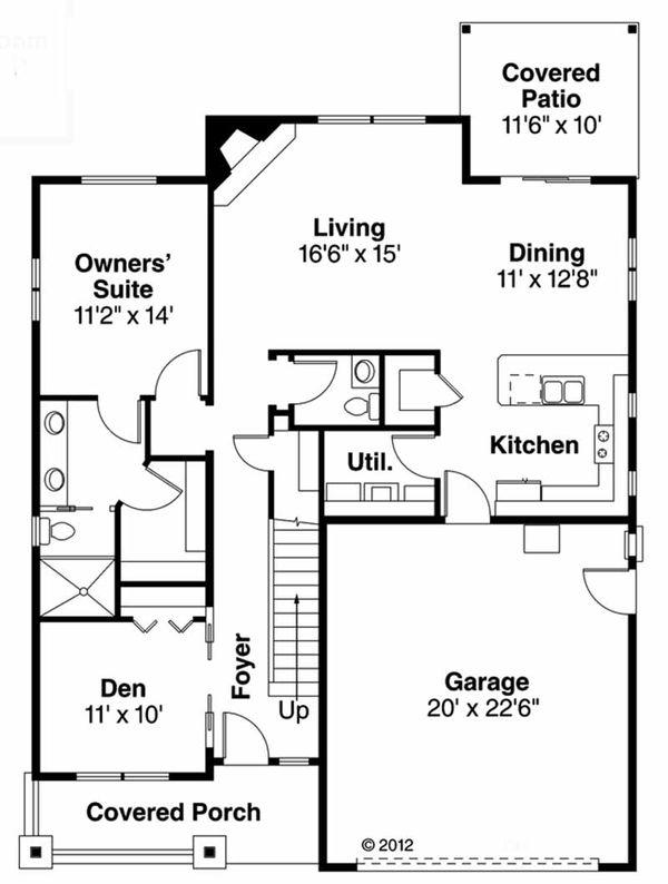 Craftsman Floor Plan - Main Floor Plan Plan #124-907