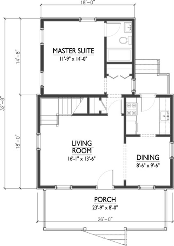 Cottage Floor Plan - Main Floor Plan Plan #514-18