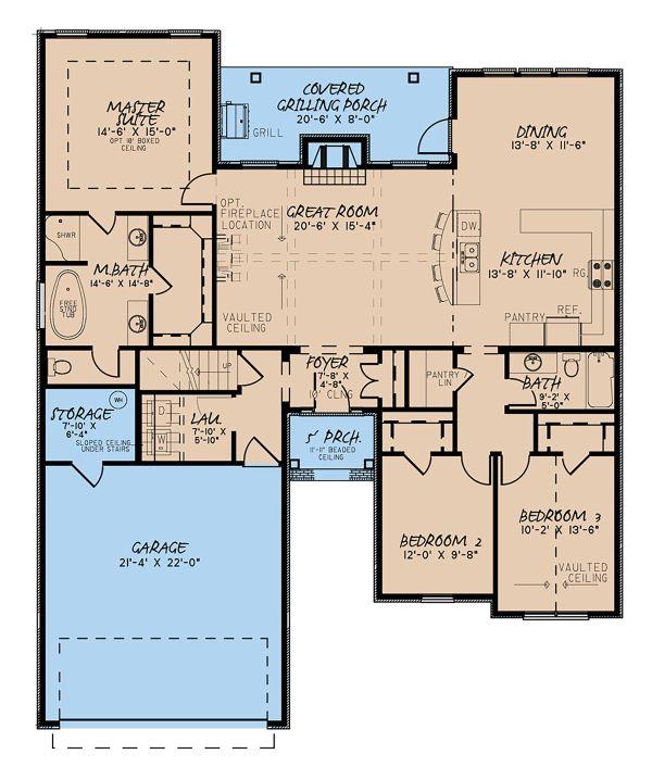 House Plan Design - European Floor Plan - Main Floor Plan #923-138